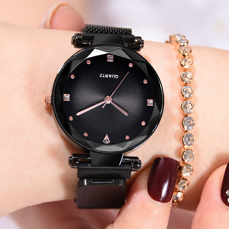 Fashion Magnetic Starry Sky Women Watches Latest Hot Ladies Rhinestone Quartz Wristwatch Black Steel Mesh Female Clock On Hand