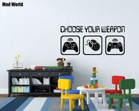 Mad World Choose Your Weapon Video Gaming Wall Art Stickers Wall Decal Home DIY Decoration Removable