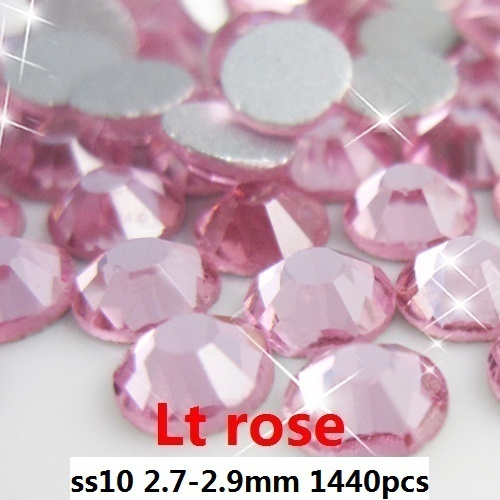 Glitter Shiny Glass Rhinestones 1440pcs ss10 2.7-2.9mm Light Rose Round Flat Back Non Hotfix Glue On Nail Art Crystal Diamonds