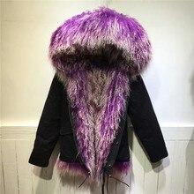 Warm Luxury purple with white lamb fur inside jacket long fur coats Mongolia Sheep Fur parka Mr Mrs wool fur