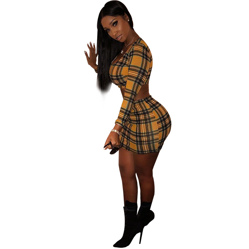 a995fb49ec 2018 Summer Women Plaid Two Pieces Set Sexy Square Collar Crop Top and Skirts  Suits Fashion Elastic Waist Mini 2 Piece Set-in Women's Sets from Women's  ...