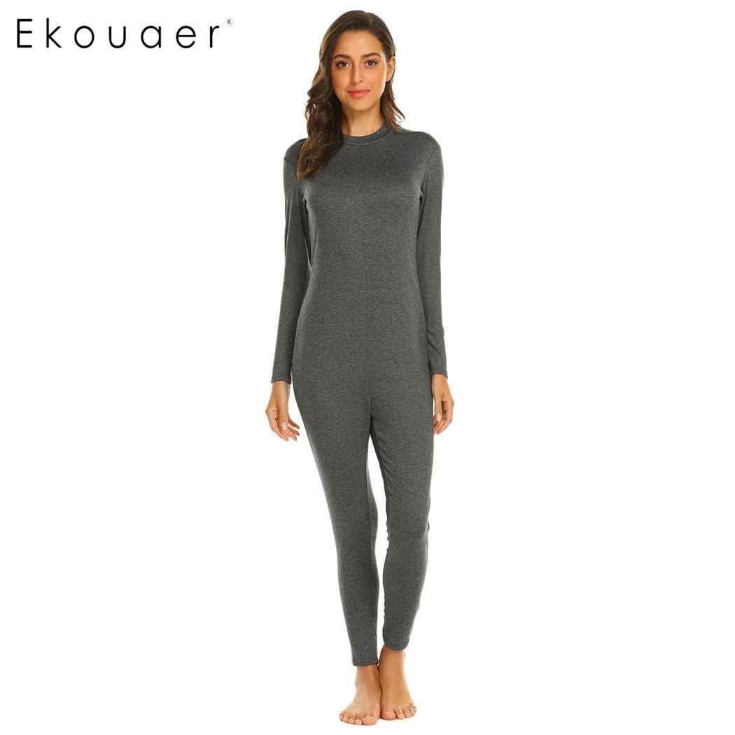 de58f98f6cadb Ekouaer Взрослые длинные ночное белье Женские повседневные однотонные с  длинным рукавом с круглым вырезом цельные пижамы