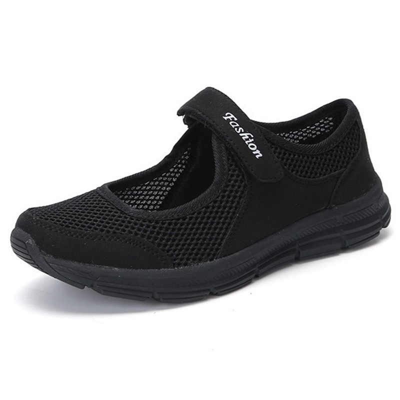 Zapatos casuales de mujer zapatos planos de verano de malla transpirable para mujer zapatos vulcanizados de fondo suave zapatos ligeros de Mujer talla grande 42 43
