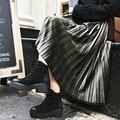 Fashion 2017 Autumn Winter Skirt Women Casual Pleated Skirts Vintage Retro Velvet Skirt Solid Elastic High Waist Skirts