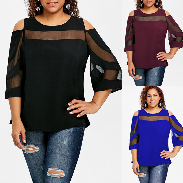 c7f9013364193c Women Cold Shoulder Long Sleeve Sweatshirt Pullover Tops Blouse Shirt  Clothes Women Top Femme LSJ