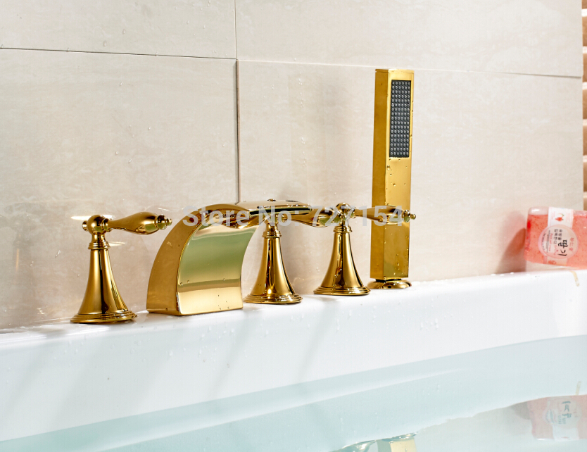 Hot Sale Free Shipping New Golden Brass Bathtub Faucet Handheld