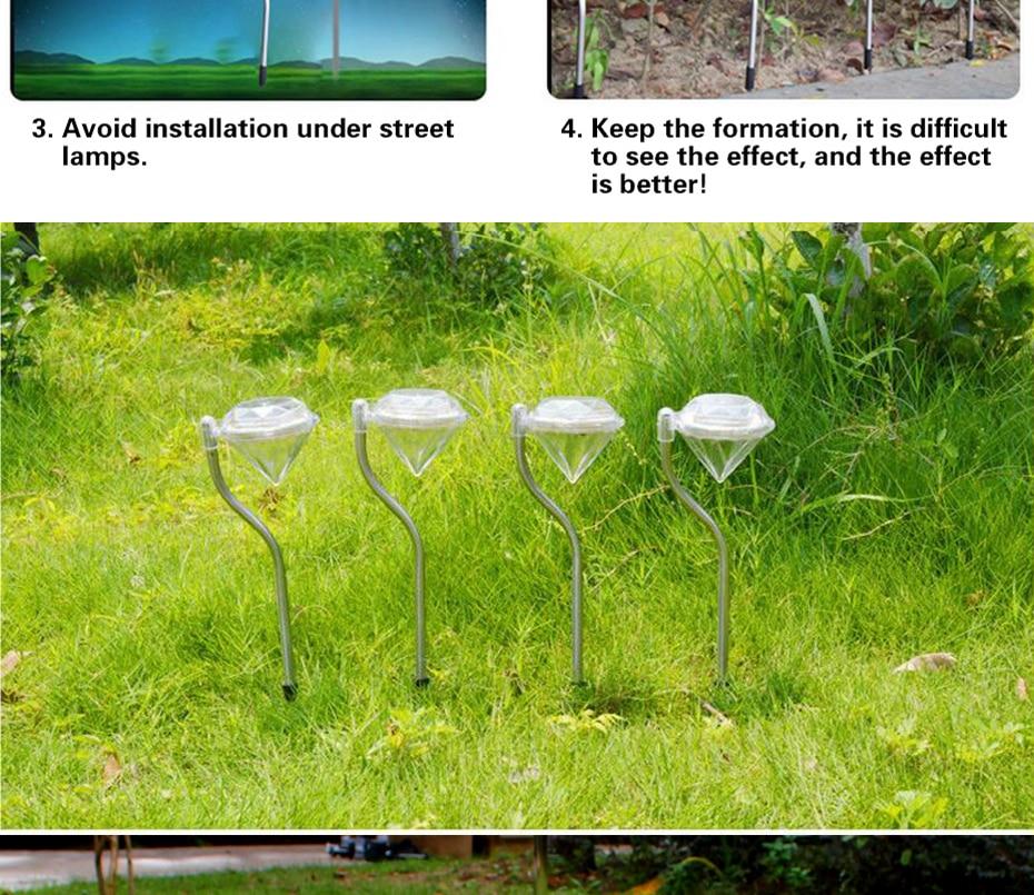 Pathway Solar Lâmpada Para Quintal Paisagem Ao Ar Livre Jogo de Diamante