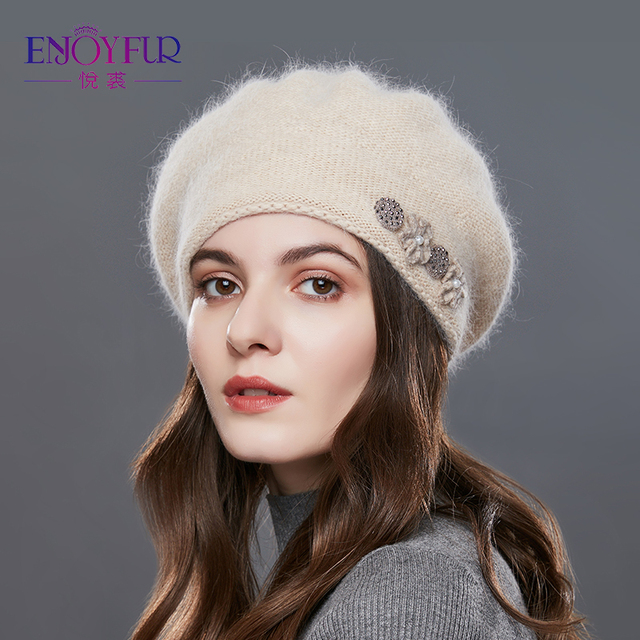 15caae6b1 Aliexpress.com : Buy ENJOYFUR Rabbit Knitted Winter Hats For Women Cashmere  Warm Beret Hat Female Flower Decoration Lady Middle Aged Cap 2017 Hat from  ...