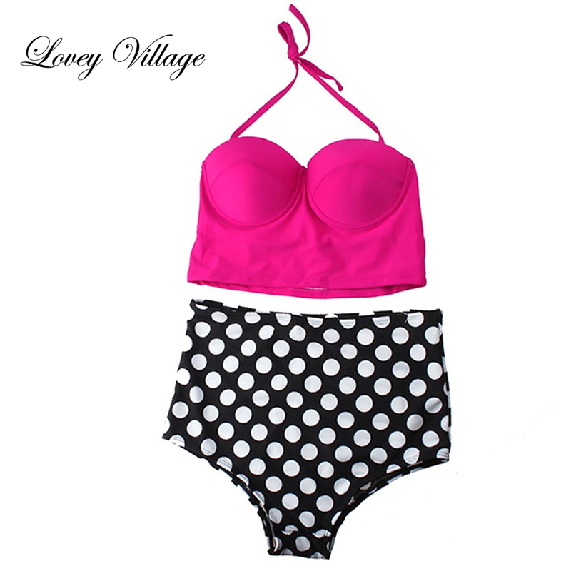 Lovey Village Sexy Print Dot High Waist Bikinis Set Push Up Bandage Swimwear Women Swimsuit Strapless Bathingsuit Retro