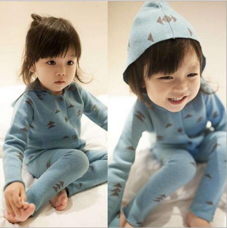 spring winter new kids hooded sweatshirts baby girls boys leisure wear homewear children triangle jacquard clothing set