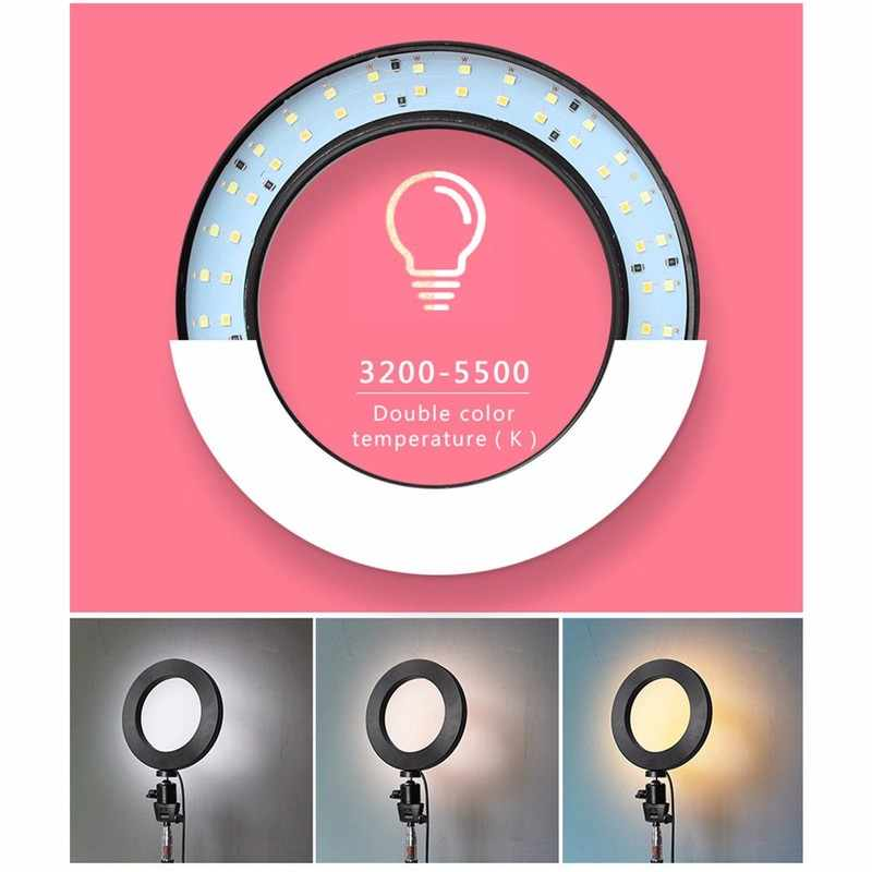 LED 3 Modes 40W 5500K Dimmable Studio Camera Ring Light Photo Phone Video for Live Video Chat Makeup Advertisement Photography
