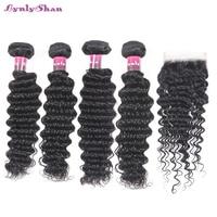 Malaysian Human Hair Deep Wave 4 Bundles With Closure Remy Hair Extension Bundles With Closure Natural Color Lynlyshan