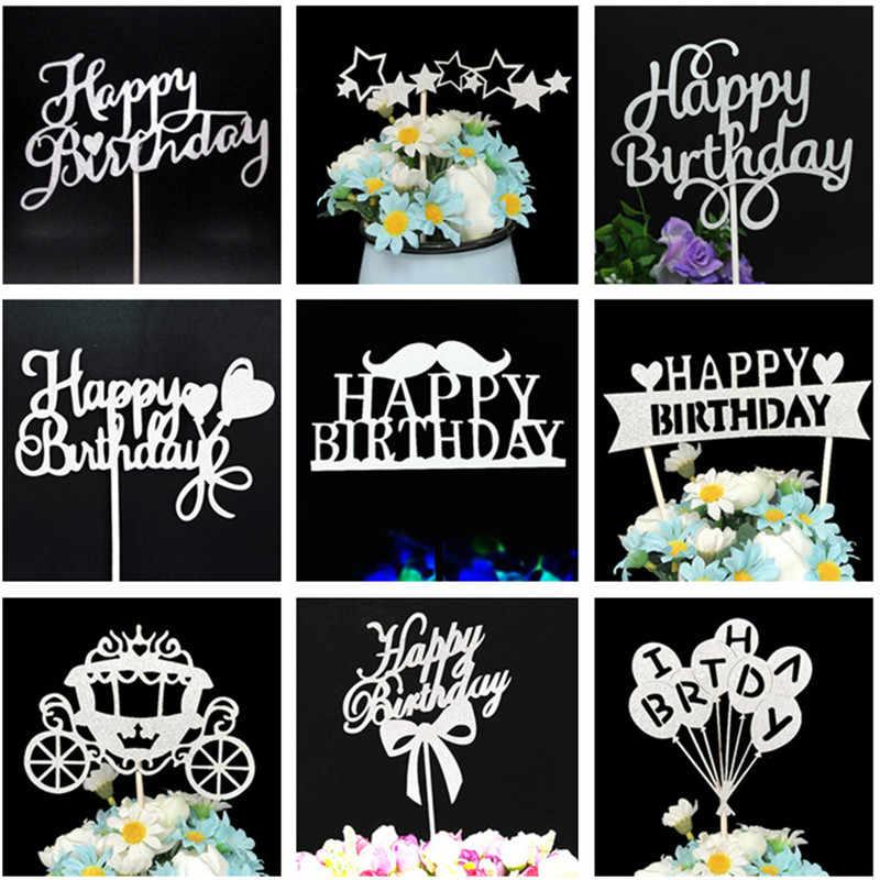 Счастливое украшение для именинного торта 1-е украшение для именинного торта s Торты на день рождения Детские украшения для вечеринок Розовый Кекс Toppers