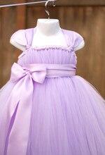2016 Дети Девушки Чистой вуаль Фортепиано Производительность Одежда Подарок На День Рождения Маленький Розовый Платье Невесты Длинный Участок Цветок Пачки Платье