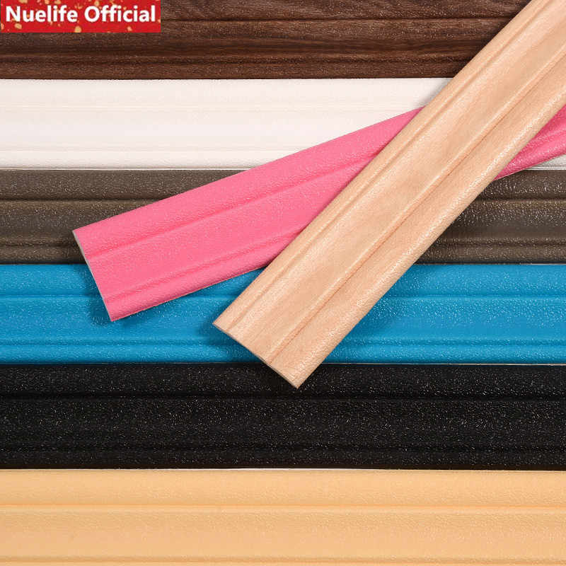 ddebae9cf6 3pcs Thicken Waist Line Border Baseboard Foam CottonWall Sticker TV  Background Wall Frame Ceiling Edge Strip 3D Wall Sticker