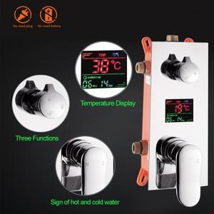 Image 2 - Luxury Bath Shower Mixer Kits Digital Display Wall Mounted  Rain Waterfall Shower Head Chrome Shower Faucet with Handshower