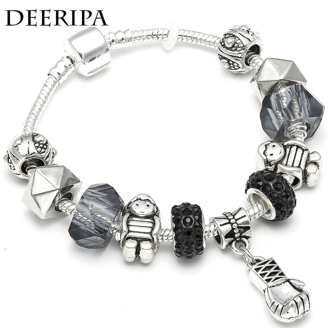 Punk Gym Boxing Gloves Charm Bracelets With Geometric Beads Pandora Bangle For Women Accessories