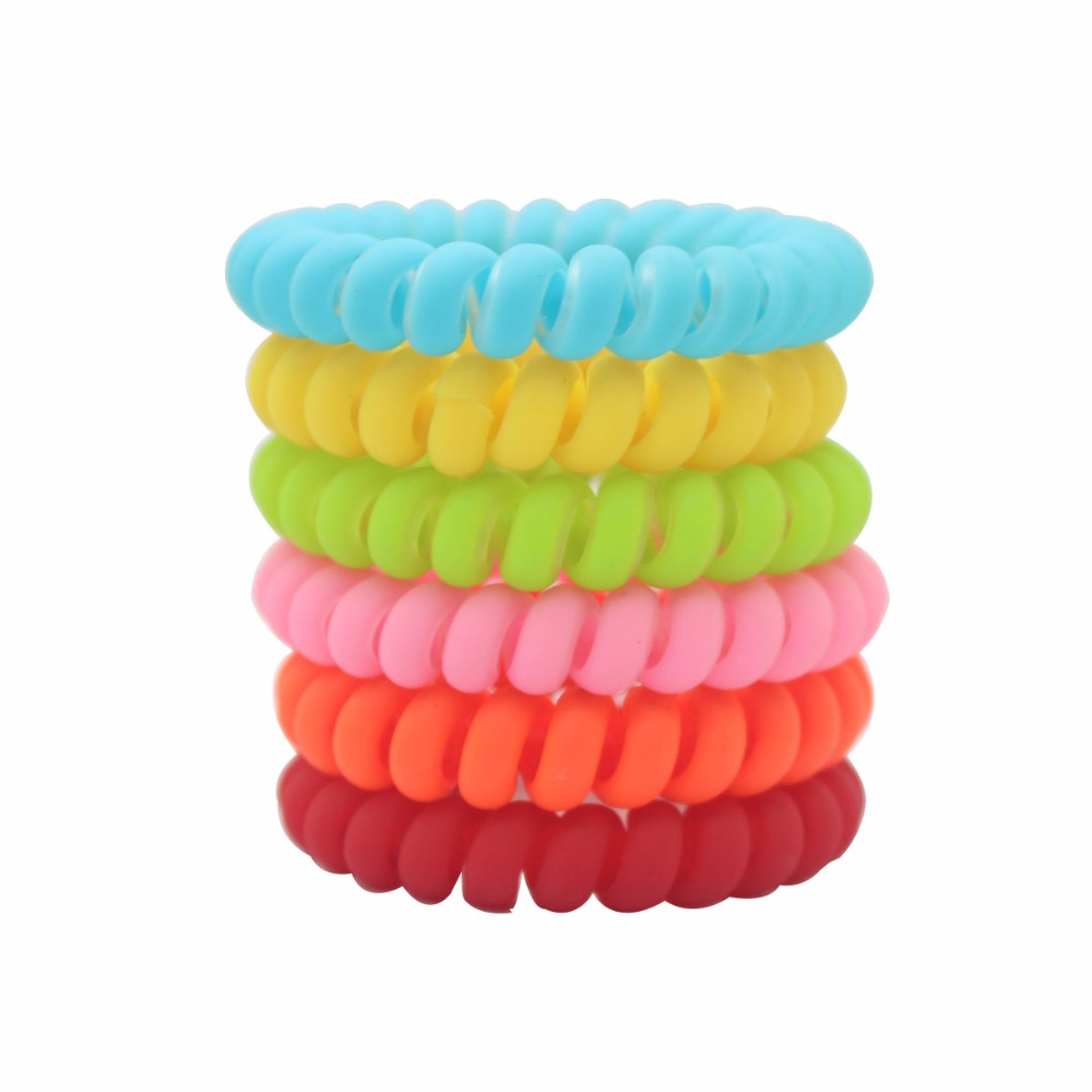 6 pcs/lot rainbow color hair elastic matte telephone wires girls ponytail holders for women scrunchies hair accessories