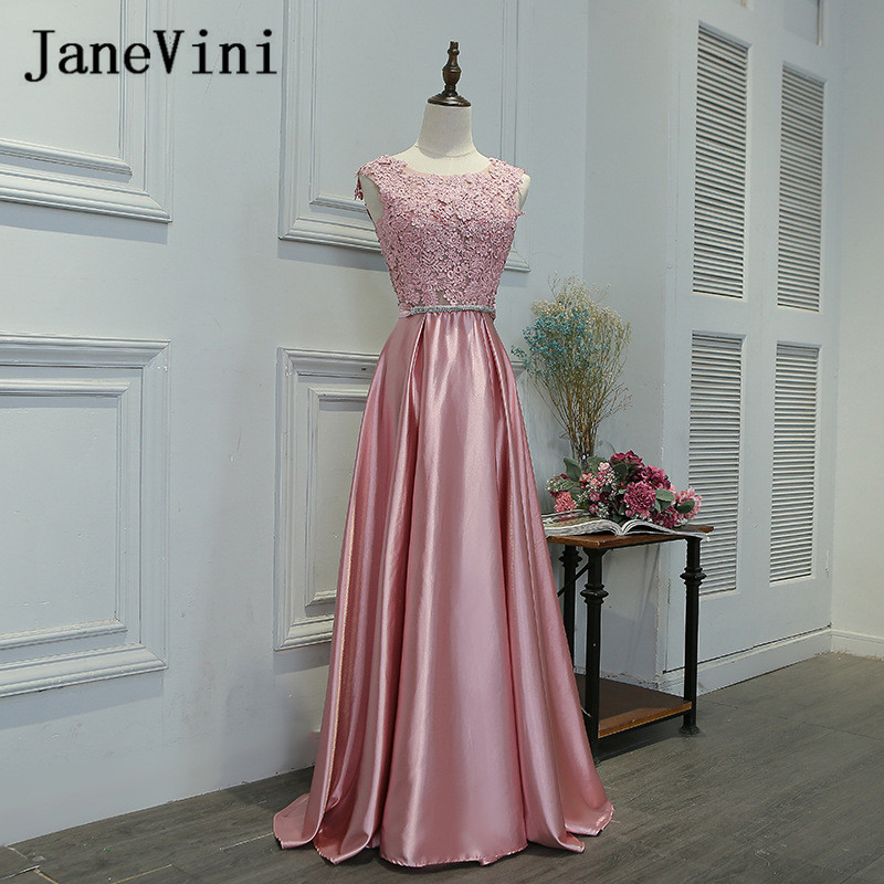 JaneVini Dusty Pink Long Bridesmaid Dresses For Wedding Party Lace Top Bow V-Back Satin Floor Length Wedding Guest Gowns 2018