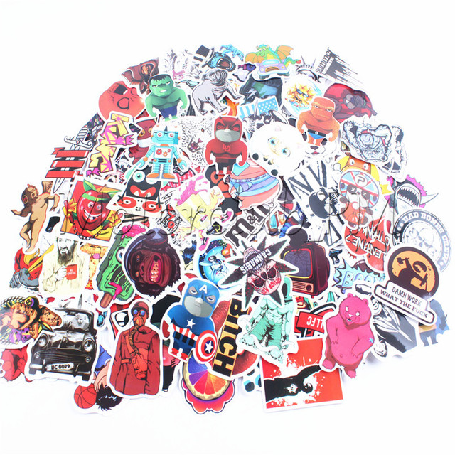 100PCS Mixed Decal Car Sticker Graffiti Covers Skateboard Snowboard Motorbike Laptop Carton Sticker Luggage Fridge Phone