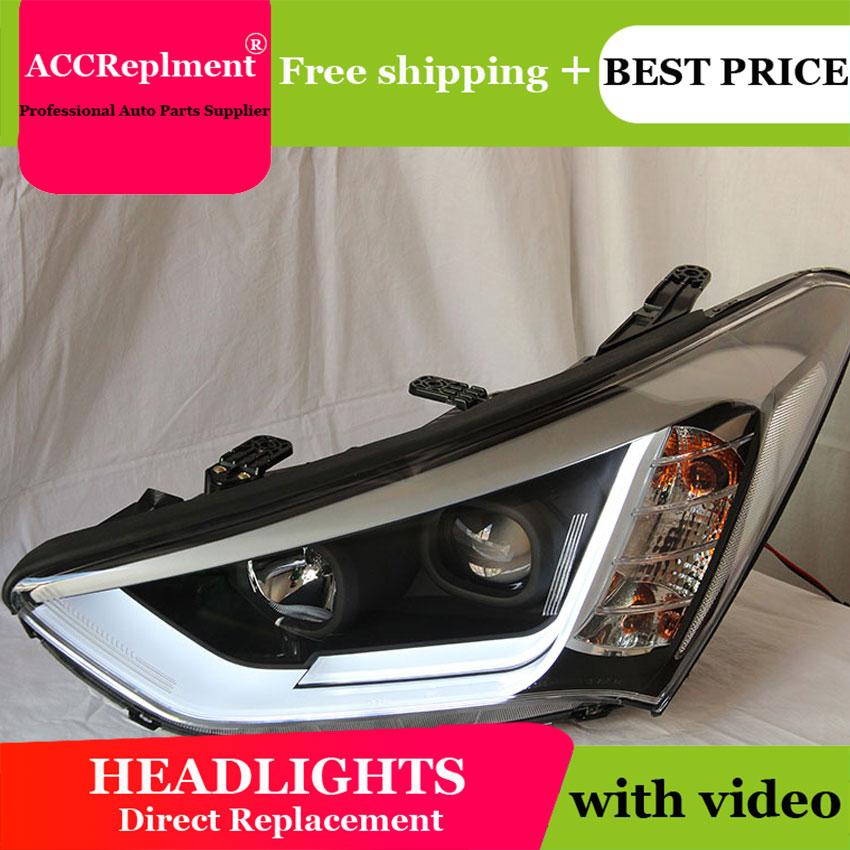 Car Styling for New Santa Fe LED Headlight 2014 IX45 Headlights DRL Lens Double Beam H7 HID Xenon bi xenon lens стоимость