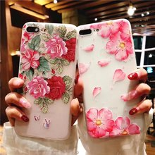 Cyato 3D Peach Blossom flower Case For iPhone X 7 6 6S 8 Plus Pretty Floral Cartoon Back Cover for iphone case