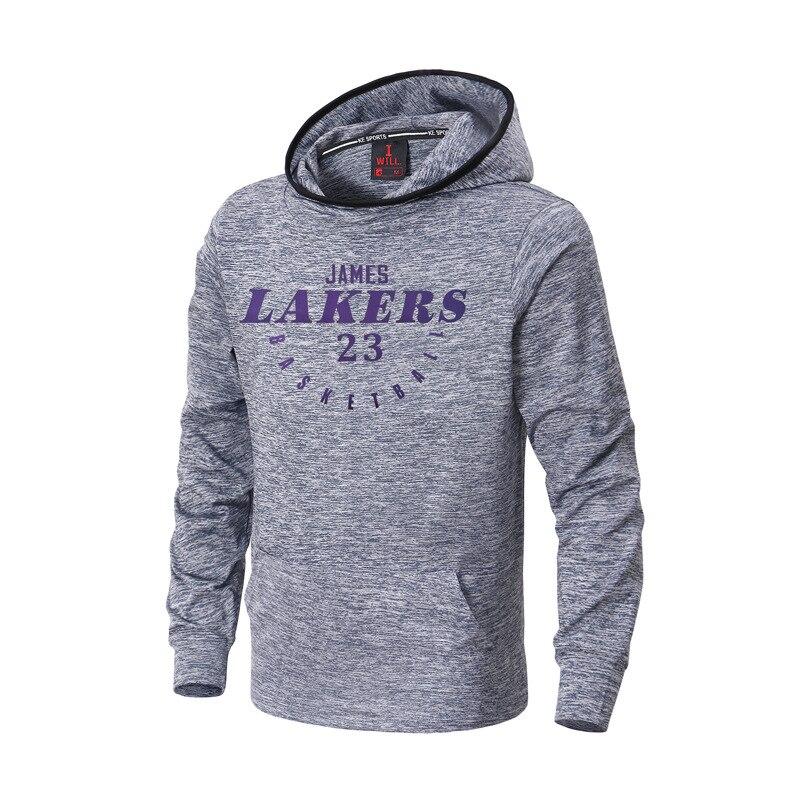 New Basketball Sports Hoodies Men Training Hooded Sweatshirt Men Loose Long-sleeved Printed Hoodies