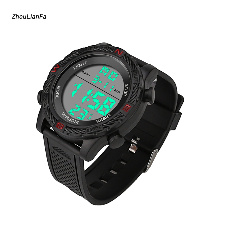 Digital Watches For Men Buckle Back Light Water Resistant Alarm Led Digital Wrist Fitness Watches Mens Fashion Sport Watch