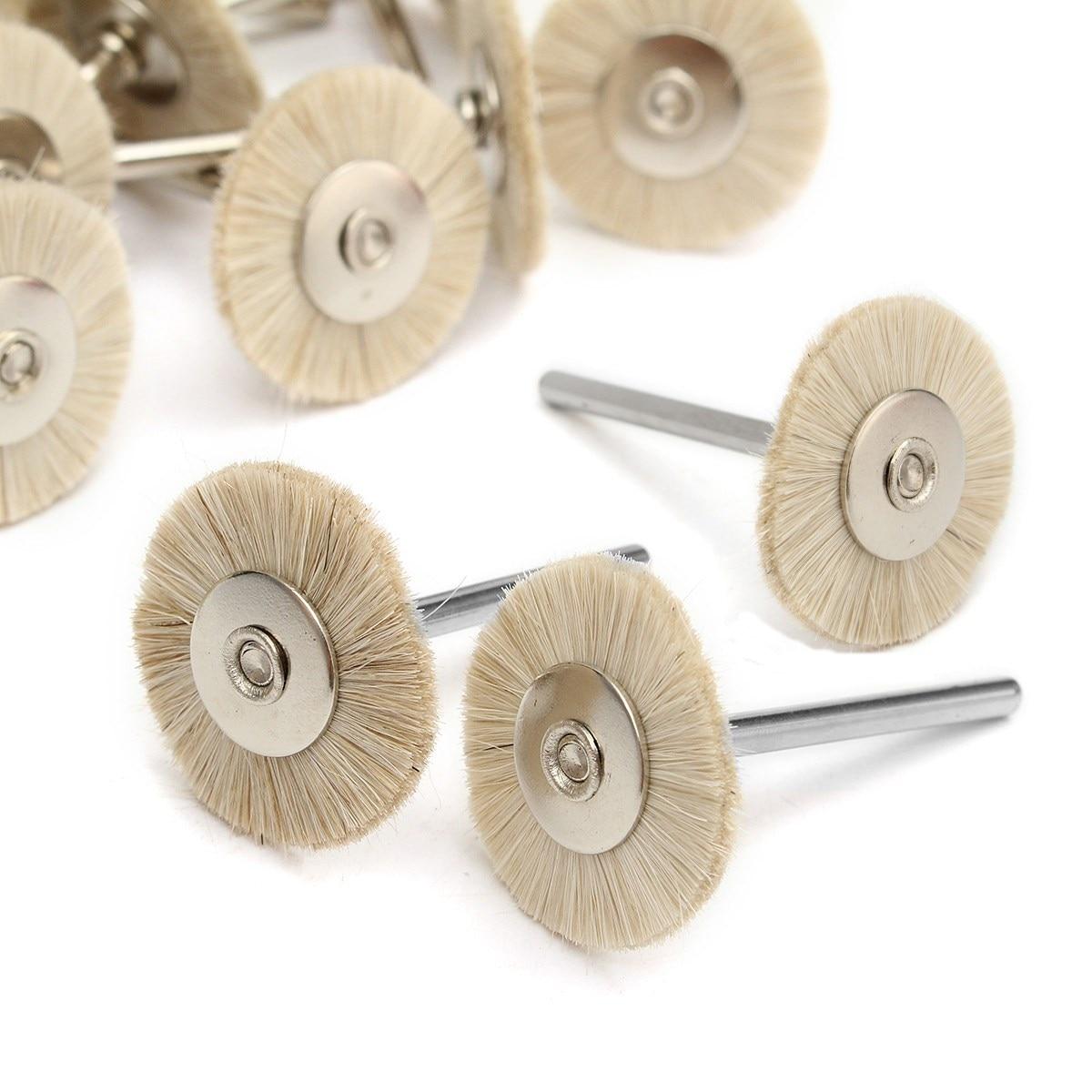 30pcs Dental Polishing Brushes 3mm Soft White Goat Hair Buffing Cleaning Wheels Brush Burs For Dental Lab Rotary Tools 2018