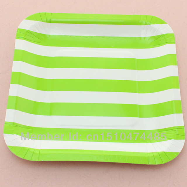 Disposable Paper Dinnerware Sets Green Square 7\  Striped Paper Plates Crafts Big Sale for Thanksgiving  sc 1 st  AliExpress.com & Disposable Paper Dinnerware Sets Green Square 7\