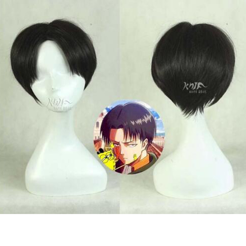 Attack on Titan Levi Ackerman Cosplay Wig Short Hair Rivai Ackerman Role Play Halloween + Wig Cap