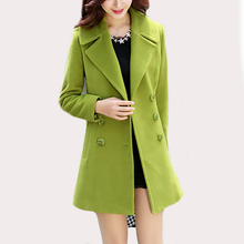 Fashion Women Turn down Collar Double Breasted Slim woollen cloth coat and sections woolen coat Jacket