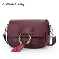 FoxTail Lily Popular Metal Rings Tassel Design Small Shoulder Bags Women Messenger Bags Genuine Leather Mini