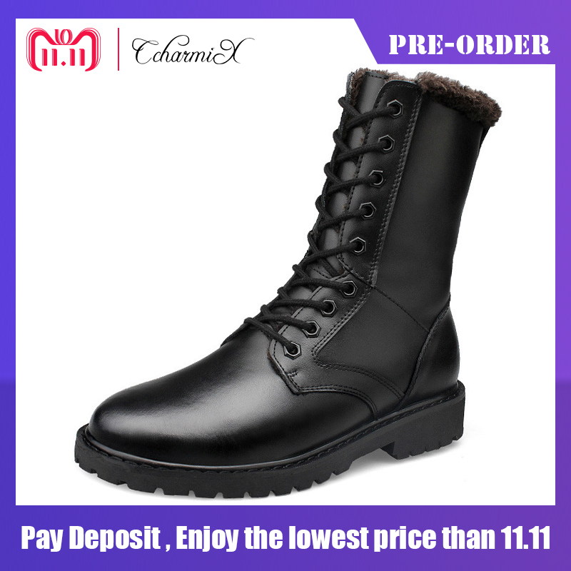 CcharmiX Large Size Genuine Leather Mens Winter Shoes Mid-Calf Male Leather Boots Winter Work Boots Black Mens Military Boots vasque mens boots skywalk gtx insulated 7052 black leather