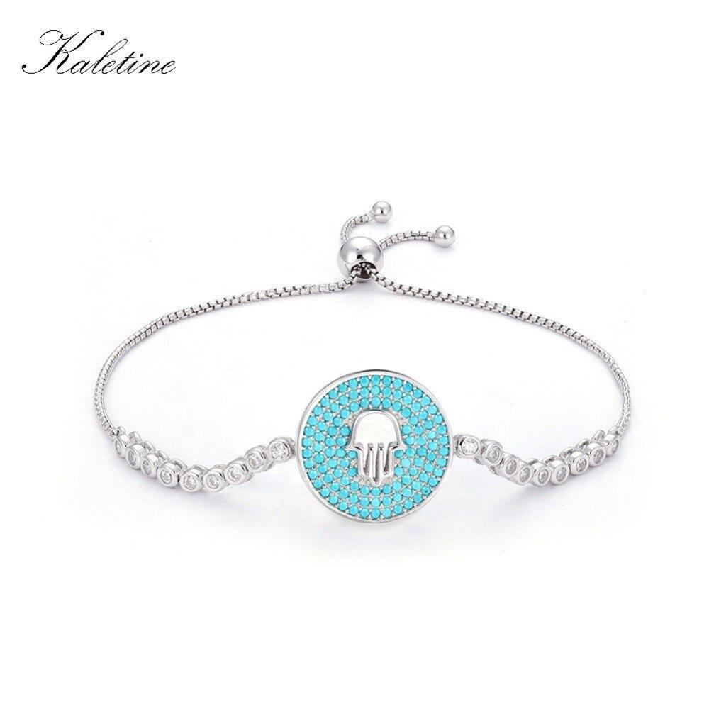 Kaletine Sterling Silver 925 Bracelet Luxury Blue Hamsa of Fatima Turkey Charm Bangles 2017 Fashion Jewelry