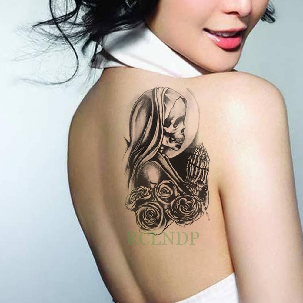 Waterproof Temporary Tattoo Skull Head Rose Flower Tatto Flash Tatoo Fake Tattoos Arm Chest Leg Large Size For Girl Women Man Temporary Tattoos Aliexpress