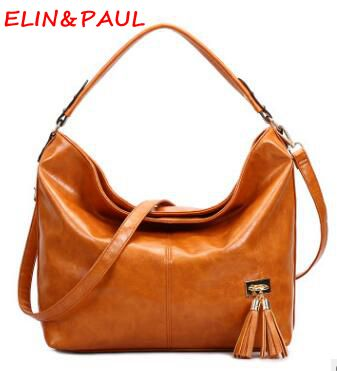 ELIM&PAUL Luxury Handbags Women Bags Designer Brand Famous High Quality Oil Wax Leather Brown Yellow Casual Tote Ladies Hand bag elim