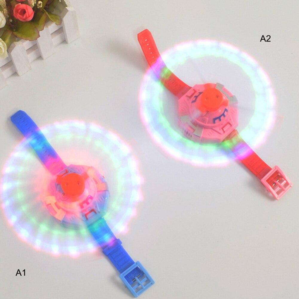 Children Electric Flashing Toys 3 Lights Music Wrist Windmill LED Flash Luminous Watch Kids Toys