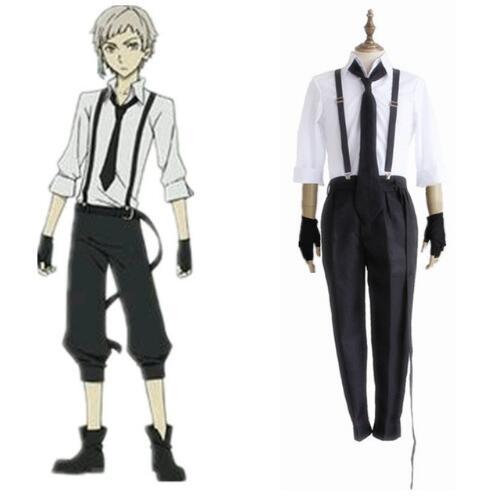 FREE pp Anime Bungo Stray Dogs Detective Atsushi Nakajima Cosplay Shirt & Strap Pants & Tie & Gloves Uniform Suit Halloween Men