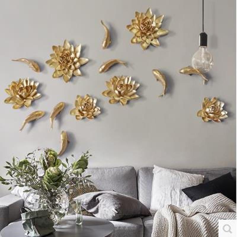 Trojrozměrné nálepky na zeď, lotosové a pivoňkové květiny, pryskyřičné ryby, kreativní dekorace na zeď