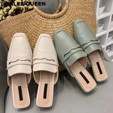 2019 Summer Brand Slippers Shoes Women Classic British Mules Low Heel Solid Slide Comfortable Spring Autumn Vacation