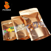 Gold coffee nut Snack chocolate Cookie candy food foil Packaging Bag flat Wide bottom zipper ziplock Stand Open window Embossing(China)