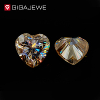 GIGAJEWE Heart Cut Loose Moissanite Gem stone Yellow Color 0.8 4ct For Free Shipping