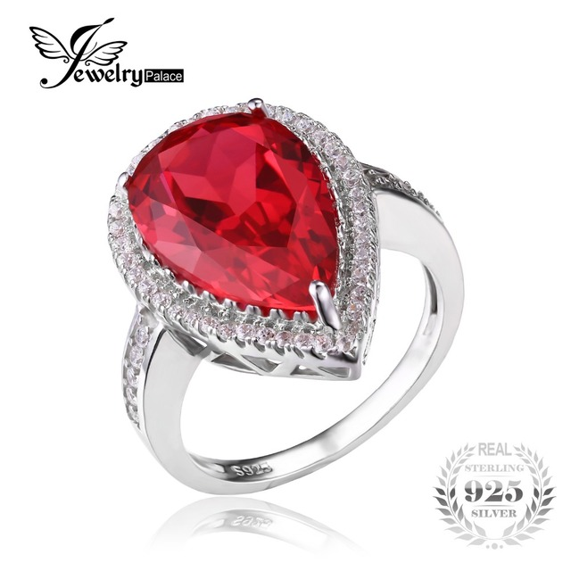 Fine Jewelry Womens Red Lab-Created Ruby Sterling Silver 3-Stone Ring 6nMsOyrK
