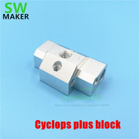 1pcs Updated Cyclops plus Multi-Extrusion block Multi Color 2 In 1 Out j-head block black/silver for 3D printer HotEnd parts