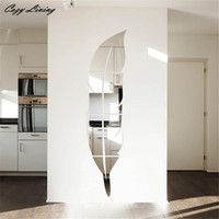 3D Specchio Autoadesivo Della Parete 1 PZ 120*30 cm Piuma Superficie Dello Specchio Adesivi murali DIY Acrilico 3D Casa Decalcomania di Arte Murale Poster D20