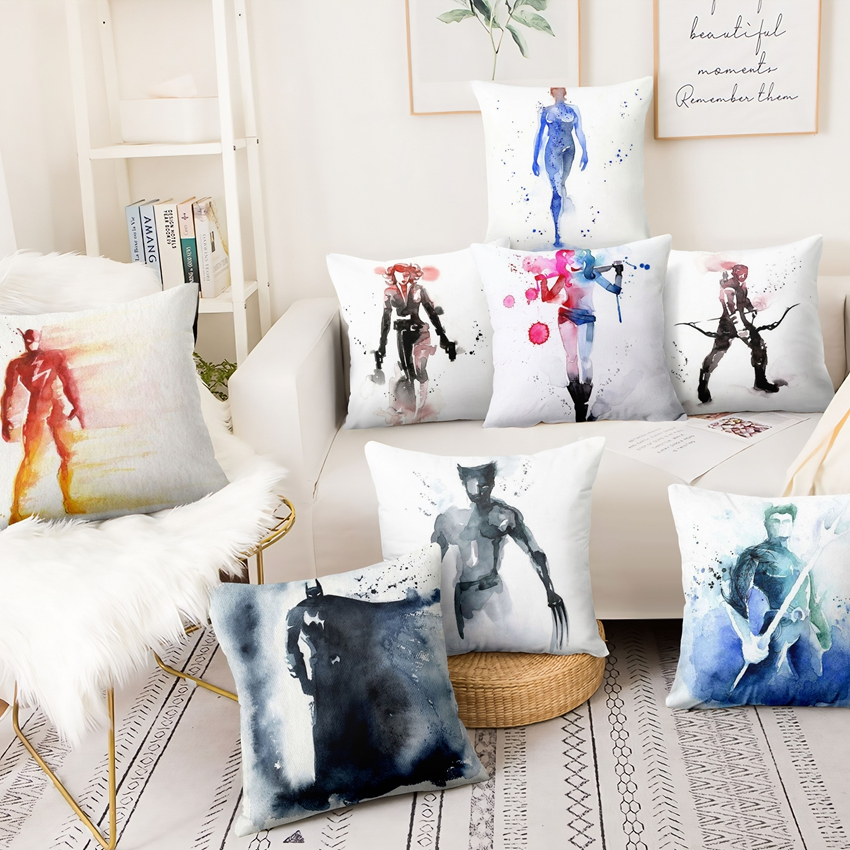 The Avengers Super Hero Printed Pillowcase Watercolor Painting Linen Cushion Decorative Pillow Home Decor Sofa Throw Pillows