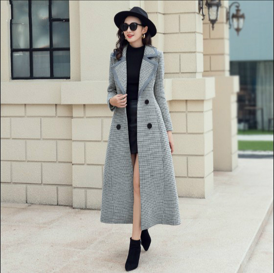 Manteaux Long Femme Outwear Hiver Slim Nouveau Automne Rétro Gris De Longue Tweed Laine Manteau Plaid Extra Femmes 2018 Revers qPO6Tpn4T