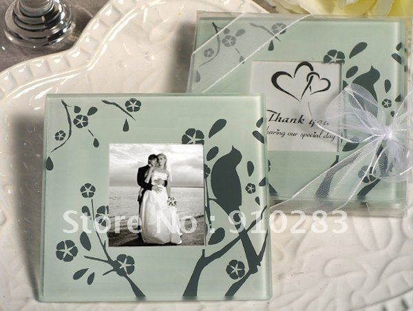 Free shipping USA and Australia 100set/lot  wddding gift wedding favor Lovebird Design Glass Photo Coaster Favors