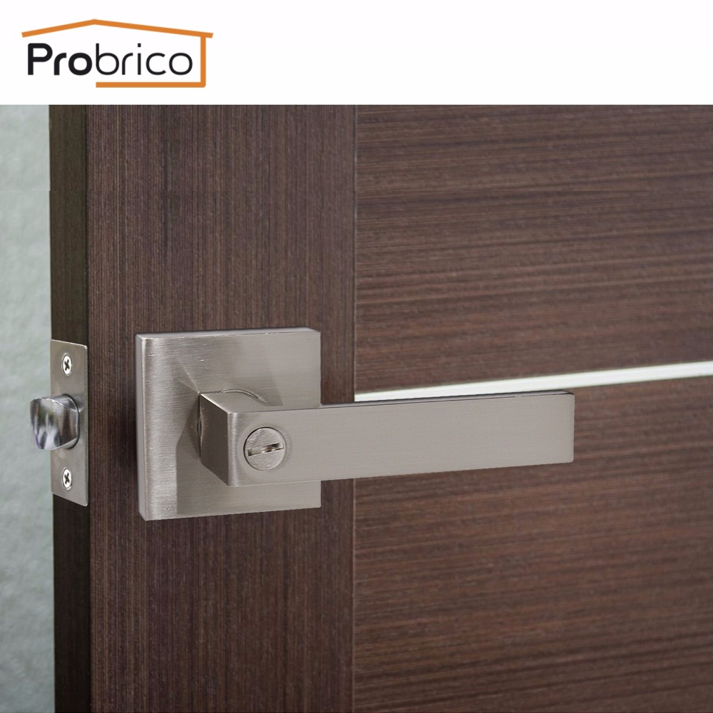 Probrico Door handles for Interior Doors Keyless Privacy Lock Set Satin nickel front back lever with latch for bedroom bathroom
